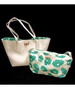 bebe Large Purse Tote Shopper With Cosmetic Bag Reversible White Floral ... - $98.11 CAD