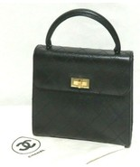 Chanel Half Flap Quilted Stitch Black Leather Top Handle Handbag Gold Hardware