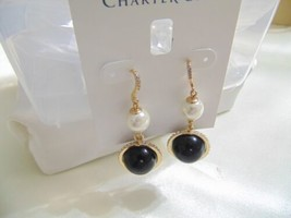 "Charter Club 2-1/8""Gold-Tone Pave & Kiska Pearl Drop Earrings N894 $29 - $13.43"