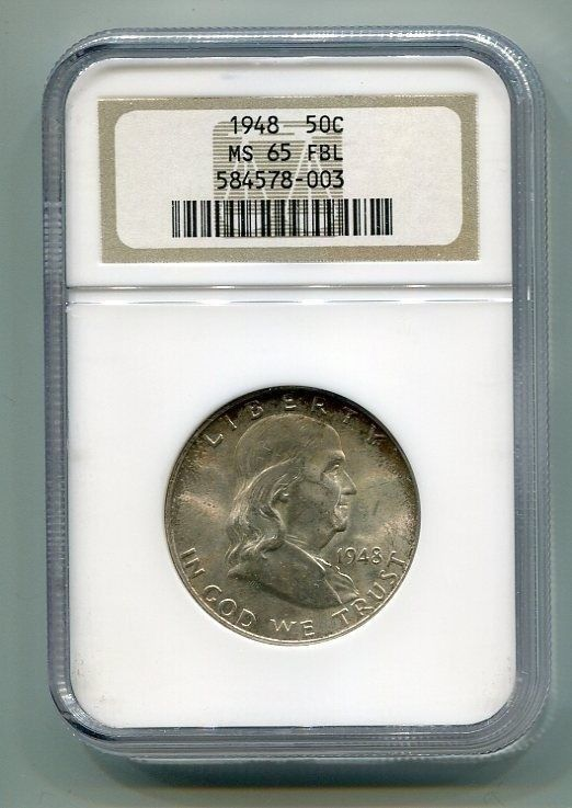Primary image for 1948 FRANKLIN HALF NGC MS65FBL FULL BELL LINES NICE ORIGINAL COIN BOBS COINS