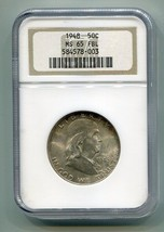 1948 FRANKLIN HALF NGC MS65FBL FULL BELL LINES NICE ORIGINAL COIN BOBS C... - $130.00