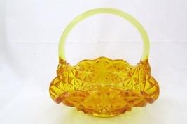 LE Smith Art Glass AMBER/Yellow  BRIDES BASKET  - $24.75