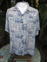 Hawaiian ALOHA shirt XL pit to pit 27 CARIBBEAN Dillards silk viscose blue  - $14.69
