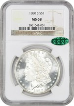 1880-S $1 NGC/CAC MS68 - Blazing White! - Morgan Silver Dollar - Blazing... - $4,888.80