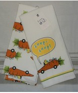 2 Bunny Tales Easter Spring Kitchen Towels 100% Cotton Peeps NWT FREE SH... - $16.82