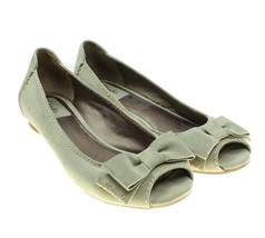 Clarks Artisan Womens Gray Suede Leather Bow Detail Peep Toe Flats Sz 8M - $28.70