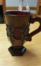 "VINTAGE RED GLASS Handled Mug AVON CAPE COD 1876 HEX BASE 5"" tall - $2.99"
