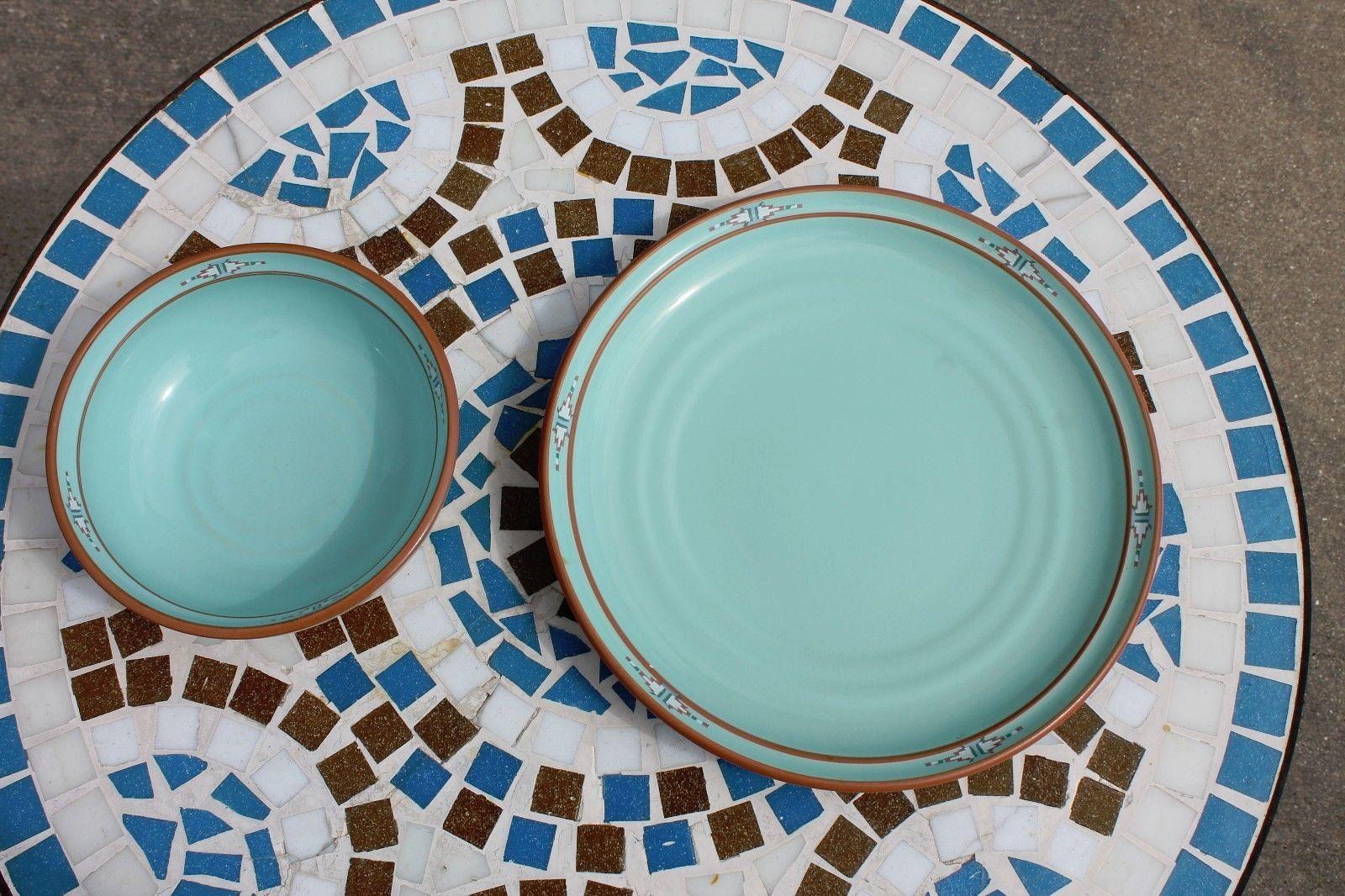 Noritake Stoneware Japan Dinner Plate & Cereal Soup Bowl Boulder Ridge Turquoise image 4