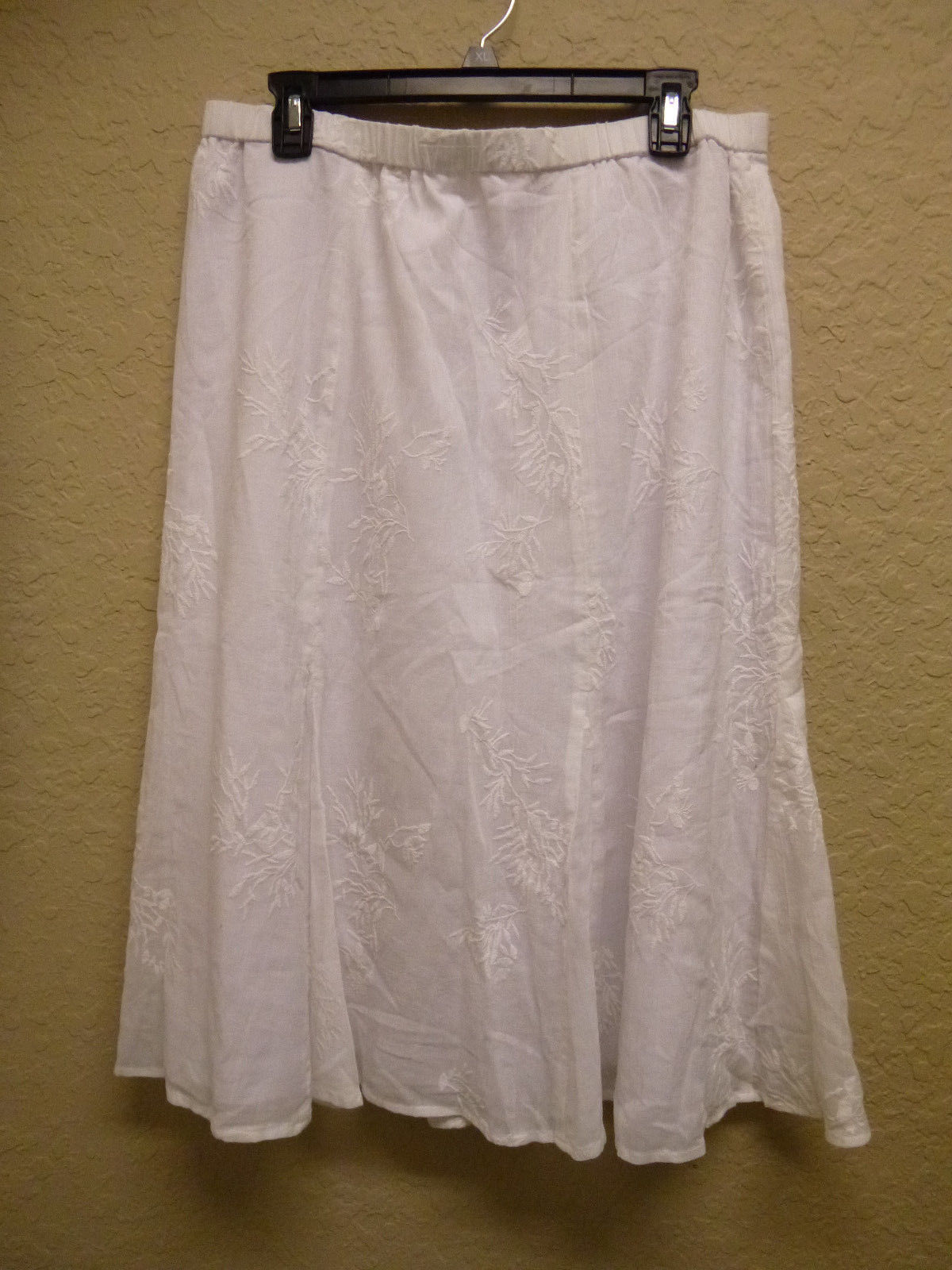 JM Collection Petite Embroidered Pull-On Long Skirt White 16P