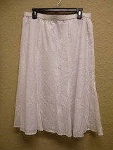 JM Collection Petite Embroidered Pull-On Long Skirt White 16P - $22.91