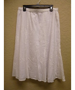 JM Collection Petite Embroidered Pull-On Long Skirt White 16P - $23.28