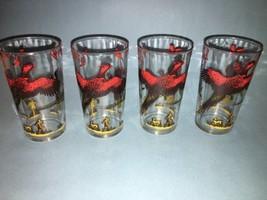 Set of 4 Vintage Hazel Atlas Pheasant Glasses. ... - $17.82
