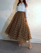 Full Long Tulle Skirt High Waisted Polka Dot Tulle Skirt Outfit Plus Size Puffy image 7