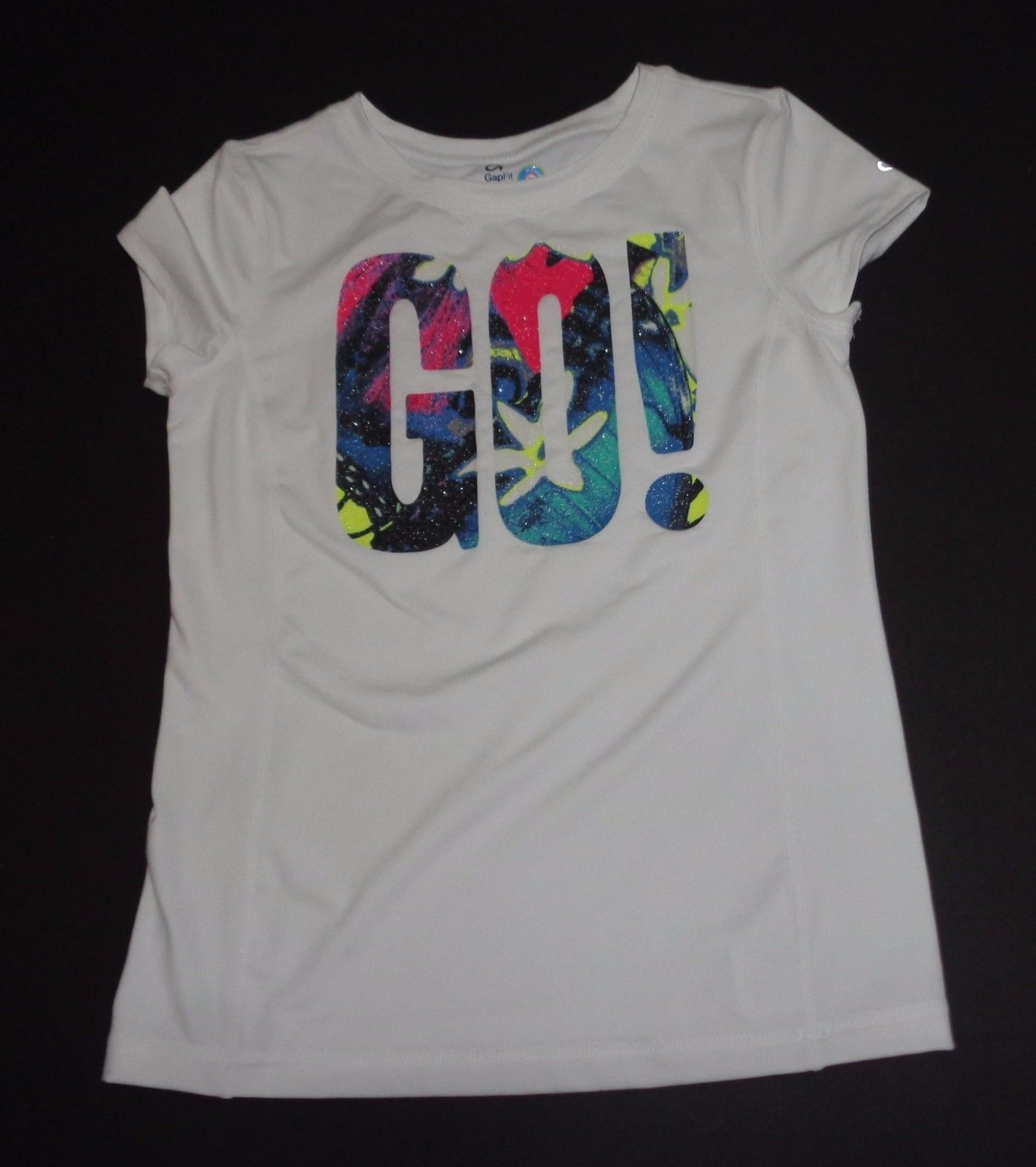 Primary image for GAP Fit Dry White Multi-color GO! T-Shirt Sz XXL NWOT