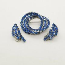 3pc Vintage Blue Rhinestone Silver Tone Pin Brooch Clip On Earring Lot Set - $27.71