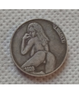 New Hobo Nickel Woman Sexy Pose Skull Skeleton Buffalo Carved US Casted ... - $9.49