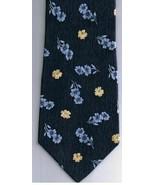 Arrow Necktie Pastime Yellow Blue Flowers Navy Background 100% Silk - $15.79