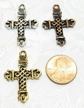 CROSS FINE PEWTER PENDANT CHARM UNITED STATES RELIGIOUS CHRISTIANITY image 2