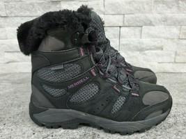 Merrell Air Cushioned Waterproof Black & Purple High-Top Hiking Boots Women 6.5M - $42.08
