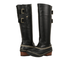 Sorel Slimpack Riding Tall II Boots Womens size 5 Black/Kettle Duck - $121.80