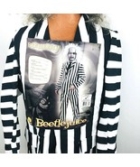 Beetlejuice Costume Mens Ghost Adult Deluxe Large Gray Wig Stripe Suit H... - $59.39
