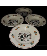 4 Direct Source Int'l Christmas Village Scene Holly Bells Sleigh Soup Bowls - $29.69