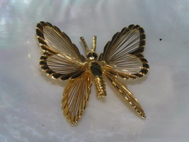 Estate Monet Signed Goldtone Open Wire BUTTERFLY Pin Brooch – marked on ... - $10.39