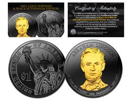Black RUTHENIUM Abraham LINCOLN Presidential $1 Dollar US Coin 24K Gold ... - $18.65