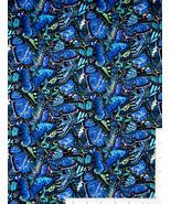 Elizabeth's Studio Butterfly Garden Novelty blue 100% cotton fabric by t... - $9.79