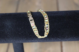 90s Gold Tone Multicolored Rhinestone Bracelet 7 inch - $9.89