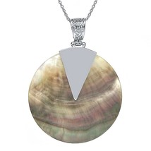 """Beautiful Multi-Color Mother of Pearl MOP Abalone Shell Circle Pendant 18"""" - $52.07"""