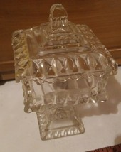 American Fostoria glass Pedestal Square Covered Wedding Bowl Candy Dish ... - $21.29