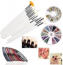 RUIMIO 30 Nail Tape, 15 Nail Art Brush, 12 Colors Nail Rhinestones, 3D ... - $22.88