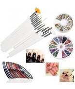 RUIMIO 30 Nail Tape, 15 Nail Art Brush, 12 Colors Nail Rhinestones, 3D ... - $451,32 MXN