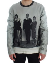 Dolce & Gabbana DG FAMILY Print Gray Crewneck Silk Sweater - $276.59