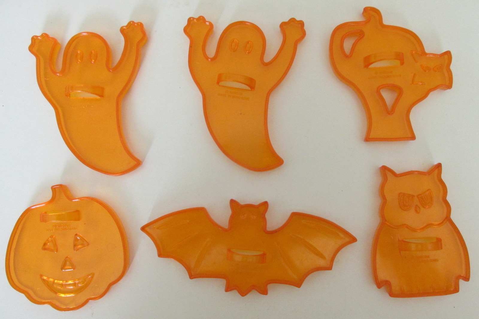 Primary image for Vintage Orange Plastic Halloween Cookie Cutters, Sun Catchers, or for a Mobile