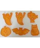 Vintage Orange Plastic Halloween Cookie Cutters, Sun Catchers, or for a ... - £9.34 GBP