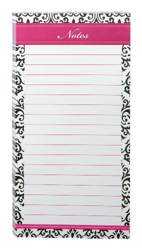 Post-it Super Sticky Notes, 3.8 X 7.8-Inches, Black, White and Pink Brocade Desi