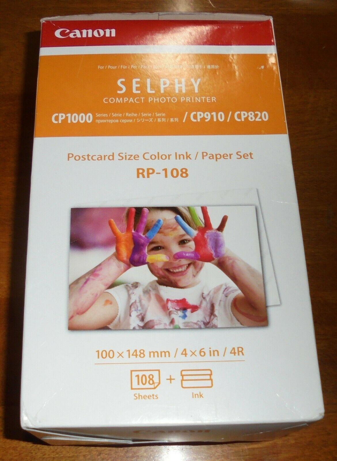 """Canon RP-108  Color Ink Cartridges & Postcard Paper Set 4""""x6"""" 108 Sheets NIB"""