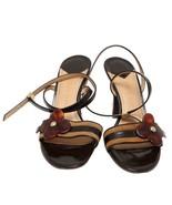 Auth Louis Vuitton Brown Leather Sandals Flower Motif Buckle Closure US ... - $214.12