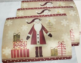 "Set of 3 Kitchen Vinyl Foam Placemats (13""x19"")CHRISTMAS SANTA & GIFTS,C... - $16.82"