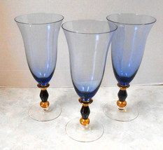 """3 WINE GLASSES BLUE WITH AMBER BLUE HOLLOW STEM 9"""" TALL ELEGANT - $64.35"""