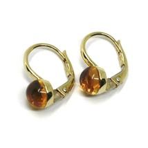 18K YELLOW GOLD LEVERBACK PENDANT EARRINGS, CABOCHON CITRINE DIAMETER 6mm image 2