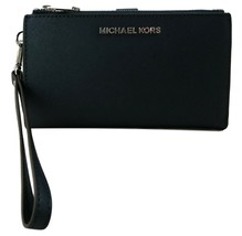 Michael Kors Purse Bifold Wallet Wristlet Navy Dark Blue Saffiano Leathe... - $228.12