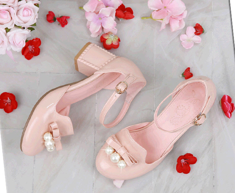 Primary image for PS397 Sweet thick heels ankle sandals w shimmering pearls, US size 2-10.5,pink
