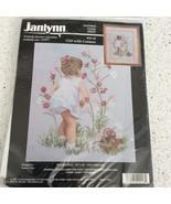 Janlynn Girl With Cosmos Cross Stitch Kit Nancy Cole Child Flowers Baske... - $15.94