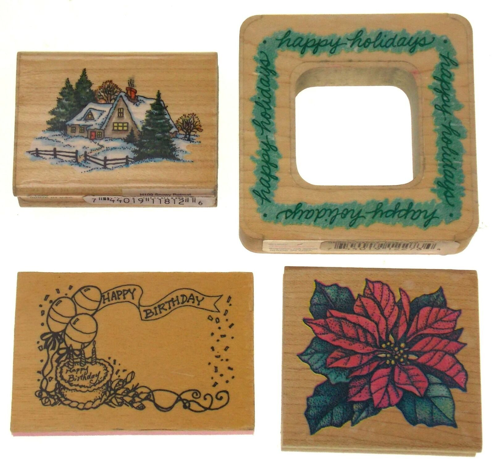 Stampendous Lot of 4 Rubber Stamps Happy Holidays Poinsettia Snowy Retreat Bday - $3.39
