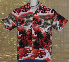 Jade Fashions Hawaiian Shirt Orange Red Black Islands Size XL - $21.95