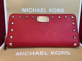 Michael Kors Jet set studded Zip Around Continental Leather Wallet Acorn... - $84.00
