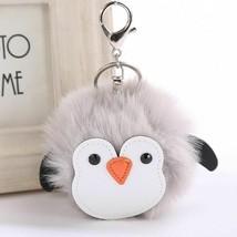 Penguin Keychain Cute Soft Faux Fur Handbag Phone Car Pendant Girls Key ... - $8.05